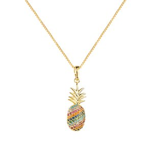 Copper Ornaments Foreign Trade Accessories Zircon Inlay Color Creative Fruit Pineapple Vibrato Clavicle Chain Necklace with Pendant