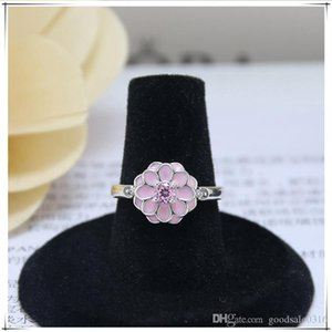 New high quality brand S925 silver ring round silver pink Petal type ring for fashion lovers gift ring come with dust bag
