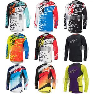 Pequeña estrella de descenso ropa que visten las carreras de ciclismo de montaña de manga larga chaqueta de traje largo de la camiseta de poliéster de secado rápido material de