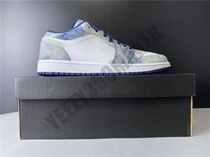 2020 niedrig Gerbstoffe Tuch Jeans 1 Basketball-Schuh-1s schwarz, weiß, blau Designer-Männer-Frauen-athletische Sport-Turnschuh CZ8455-100