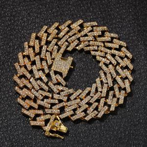 Männer Iced Out Ketten-Halskette Hip Hop Schmuck, Gold, Silber Diamant Miami Cuban Link Ketten-Halskette