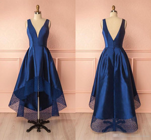 Marineblau 2018 New High Low Cocktail Prom Kleid Backless Günstige Jewel Neck Lace Short Front Long Back