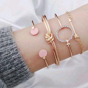 Vintage Retro Fashion Jewelry Accessorines Rhinestone Arrow Circle Warp Chains Multilayer Bracelets Charm Bangles For Women 4 Pieces a set