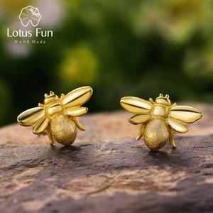 Lotus Fun réel Argent 925 main Creative Designer naturel Beaux bijoux mignons Honeybee Boucles d'oreilles pour les femmes Brincos