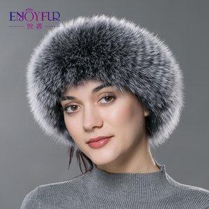ENJOYFUR bandas para la cabeza las mujeres de piel bufanda de piel real de punto caliente diadema protecter de la oreja 2018 nueva moda de Rusia headwarps