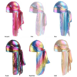 Colorful Sparkly Durags Turban Bandanas Men's Shiny Silky Durag Headwear Headbands Hair Cover Wave Caps R303 a278
