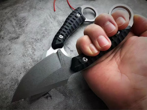 New Arrival Survival Tactical straight Knife 9Cr18Mov Stone Wash Blade Full Tang Black G10 Handle Fixed Blade Knives With Leather Sheath