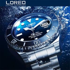 Yeni Loreo Su Hayalet Serisi Klasik Mavi Dial Lüks Erkekler Otomatik Saatler Paslanmaz Çelik 200m Su geçirmez Mekanik İzle T200311