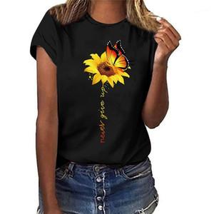 Tatlı Kısa Kollu Tasarımcı Bayan Yaz Giyim Ayçiçeği Ve Kelebek Baskı Casual tişörtleri Moda Fresh Womens