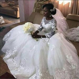 Dentelle de luxe Robes de mariée africaine avec manches 3/4 Appliques boutons BACK SCOOP PLUS Taille Nouvelle Arrivée Robes de mariée 2021