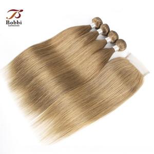 C 브라질 스트레이트 헤어 위브 번들로 폐쇄 애쉬 금발 컬러 # 8 4 번들로 4 × 4 레이스 폐쇄 레미 인간의 머리카락 확장