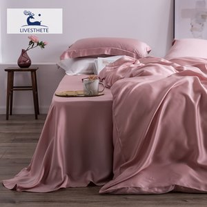 Liv-Esthete 100% Natural Silk 25 Momme Davet Cover Flat Sheet Bed Linen Set Home Decor Favour Bedding Set Double Queen King T200415