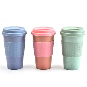 200pcs Silica Gel Coffee Cup Wheat Straw Fiber Mug Plastic Car Tumbler With Lid High Temperature Resistance Lightweight Portable