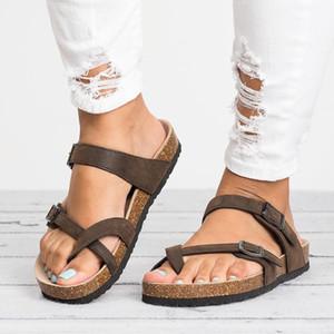Sandalias de las mujeres Roma del estilo sandalias del verano para 2019 flip flop Tamaño Plus 35-43 sandalias planas de la playa del verano Zapatos Mujer Zapatos Casual LY191202