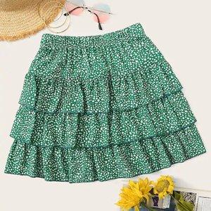 Gonna donna Summer Casual Green Dot Stampa Elastico in vita gonna plissettata Saia Feminina 2019 Faldas Mujer