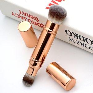 Geri çekilebilir makyaj fırçaları çift uçlu ten Kabuki fırça Gül Altın seyahat yüz vakıf toz bronzlaştırıcı fırçalar makyaj allık