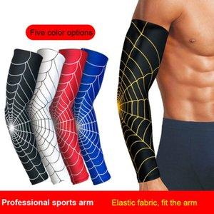 1Pcs UV-Schutz Laufen Radfahren Armlinge Spinnennetz Printed Arm Sleeves Fahrrad Armabdeckungen Golf Sports Elbow Pads2