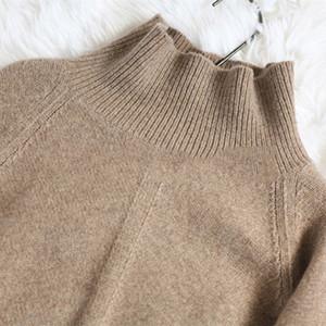 Al por mayor-BELIARST otoño y suéter de cuello alto flojo grueso jersey corto de Invierno Nuevo suéter de cachemira mujeres del párrafo Knit Camisa