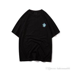 20ss Frühling und Sommer europäische Version der neuen Trompete Chrysantheme bedruckter Baumwolle und Leinen Doppelfaden T-Shirt importiert Designer luxu
