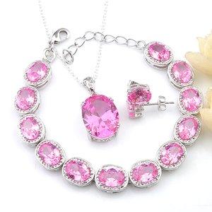 LuckyShine 3 шт Lot комплекты ювелирных изделия Vintage 925 Серебряное ожерелье эллипса Розового Кунсайт циркон для женщин Pendantds браслет Stud Wedding ювелирных изделий