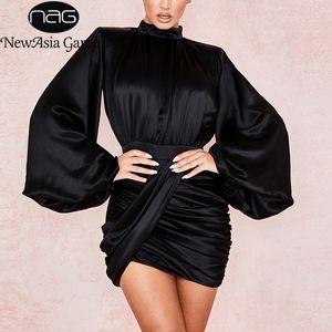 NewAsia Garden Lustrous cetim preto vestido Mulheres gola longo luva Lantern elegante vestido de festa drapeado Ruched Vintage