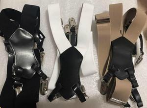 أزياء الساخنة مع النمط الكلاسيكي شعار الحمالة مطاطا سيدة حزام أسود أبيض الكاكي 3 اللون الحمالة نوعية جيدة (أنيتا)