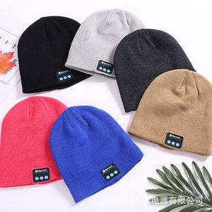 Stereo Mulheres Homens Knit Hat Beanie Por Bluetooth Quente Knit Cap Inverno Crânio cabo Cap sem fio fone Headphone partido Xmas Chapéus HH7-1915