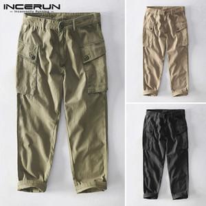 Men Cargo Pants Joggers Button Streetwear Loose Pockets Solid Long Trousers Men Casual 2020 Pantalones Hombre INCERUN Plus Size