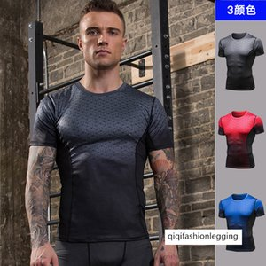 Men Pro Fitness Printing Gradient Sports Running Gao Elastic Speed Dry Clothing T Shirt Tight Fit Short Sleeve 91206