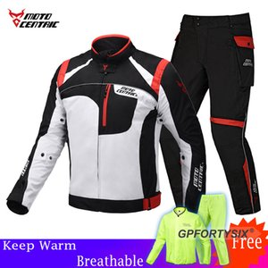 Men's Motorcycle Jacket Pants Riding Gray Reflective Racing Winter Jackets Pants Motorcycle Waterproof Jackets Suits Trousers MX