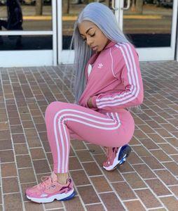 Moda feminina em dois pedaço terno Set Sports Blusas femininas Calças de cintura alta Long 2 PCS letra impressa Treino Mulheres Roupa