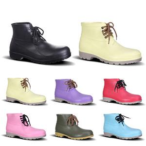 2019 Scarpe da uomo Scarpe assicurativi No-Brand Design Rain Boots bassa del lavoro punta in acciaio Cap Nero Giallo Rosso Rosa Viola Verde scuro formato 38-44