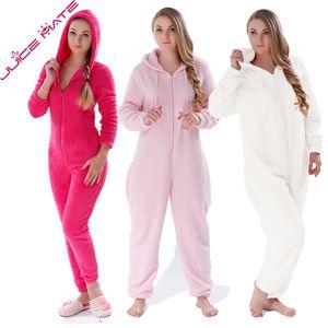 Cálido Invierno pijamas mujeres Bodies mullido paño grueso y suave del mono de la ropa de noche más el tamaño general de la capilla Conjuntos Pijamas Pijama de una pieza para las mujeres CJ1911108 Adultos