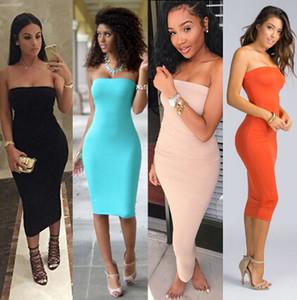 Üst Moda Bayan Yaz Elbiseler Straplez Kadın Giysileri Kolsuz Plaj Elbise Bandeau Bodycon Tüp Katı Elbise Bayan