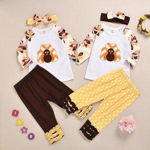 2020 New Thanksgiving Kids Girls Turkey Long Sleeve T-shirt + Ruffled Dot Pants + Headbands 3pcs set Outfits Children Clothing Sets M2229