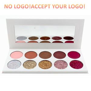 Logo yok! 10 Renkler Glitter mat Göz Farı Paleti ile Ayna Işıltılı Göz farı Uzun Su geçirmez Eyeshadow Kalıcı printting logoyu kabul
