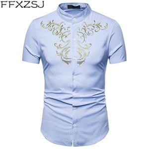 FFXZSJ Marka Yüksek kaliteli gömlek Fashionable erkek işlemeli yaz kısa kollu gömlekler Casual Standı Kısa gömlek Europeansize