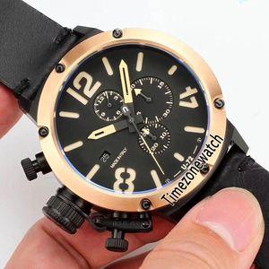 Flightdeck U-72 U72 VK cronografo al quarzo orologio da uomo bicolore PVD lunetta in oro rosa quadrante nero quadrante giallo marchio di tempo in pelle nera E02f6