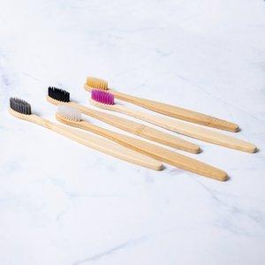 Cepillo de dientes de bambú blando en adultos Rainbow medio ambiente de bambú cepillo de dientes mango de madera respetuoso del medio ambiente del cepillo de dientes 11 colores KKA7762-1