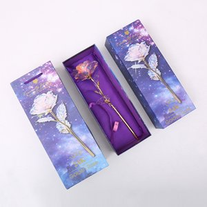 24 K LED Gökkuşağı Gül Altın Renkli Folyo Gül Çiçek Eternity Gül Romantik Altın Folyo Güzel sevgililer Günü Anneler Günü