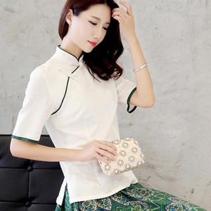 Weiß China Shirt Frauen Qipao Top Chinese Traditionelle Kleidung Vintage-nationale Art Folk Ethnic Baumwolleleinencheongsam Bluse