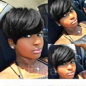 Cheap Lace completa Humano Perucas frente nenhum humano laço perucas de cabelo Melhor Curta barato curto perucas para mulheres Pretos Liso Mixed Weave do cabelo humano