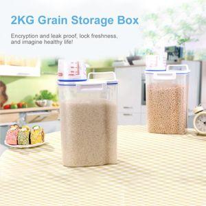 저장 병 항아리 시리얼 디스펜서 상자 플라스틱 주방 용기 곡물 쌀 봉인 된 탱크 계량 배럴 투명 측정 컵