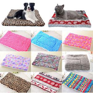 Dog Plush Bed Mat inverno quente filhote de cachorro Cat House Kennel Small Medium Large Dogs Camas de Natal Dormir Blanket pet Mat 14 cores WX9-1822