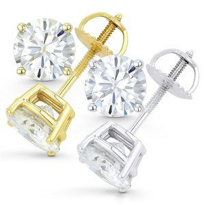 AEAW Круглый Moissanite серьги стержня для женщин Твердое белое золото 14K Fine Jewelry 0.25ct 0.5ct 1ct 2ct CJ191203