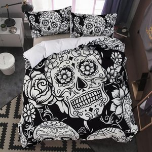 King Size Yatak 3D şekeri Duvet için dropshipping Yatak Seti Yastık AU Kraliçe Cadılar Bayramı Stili Siyah Kafatası kapsayacak