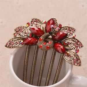 Regalos de la joyería hermosa peines del pelo del pavo real Top Hair cristal resina de la vendimia de la horquilla de metal de oro Accesorios Clip de boda