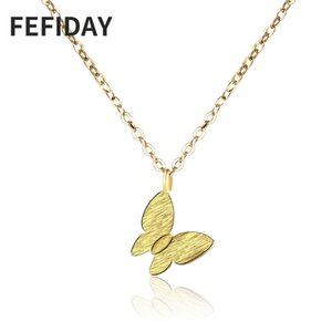 FEFIDAY Korean Cheap Woman Long Custom Gold Chain Choker Pendant Necklace Butterfly Women Women's Jewelry Necklaces Pendants