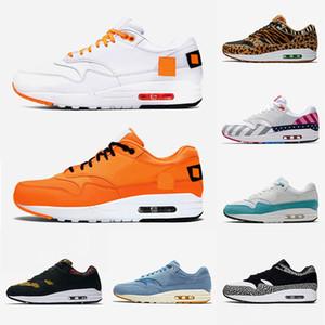 2019 Nike Air Max 1 atmos 1 élevé Just Orangel White Patch Atomic Teal Parra University Bleu 87 baskets de sport pour hommes formateurs OFF Maxes 36-45