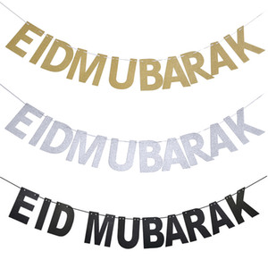 Preto Prata EID bandeira Glitter Papel Garland EID Mubarak partido do festival muçulmano Bunting Ramadan